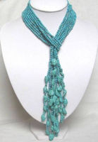 J0035 Details About 50 4MM Beautiful 4 Rows Turquoise Necklace