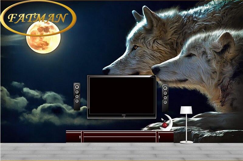 Custom Photo Wallpaper Custom 3D Stereo Night Wolf