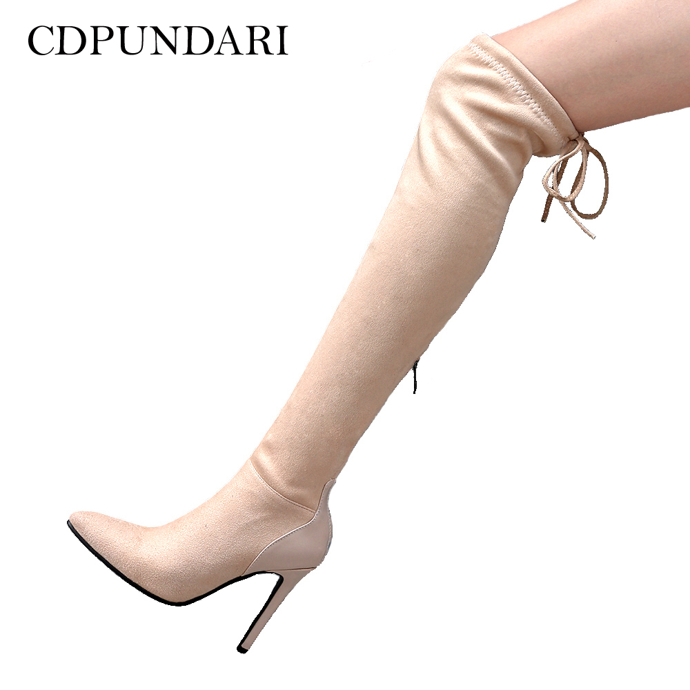 CDPUNDARI Stretch Fabric over the knee boots women thigh high boots shoes woman High heel Winter boots botas mujer bottine femme women shoes scarpe donna elastic boots botines mujer sapato feminino round toe chaussure femme schoenen vrouw over knee boots