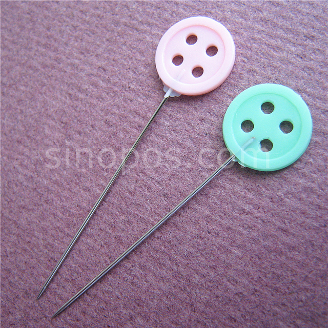 Flat Button Tie Flower Shaped Head Straight Pins Colored