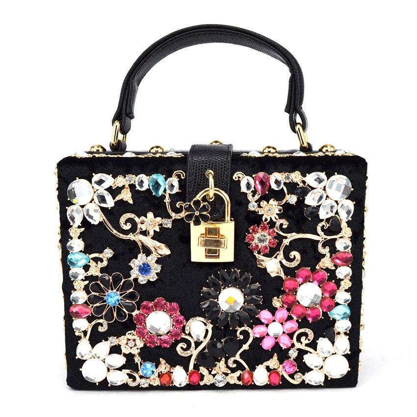 svart kristallblommor sammet kopplingar parti handväskor kvinnor - Handväskor