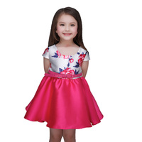 Top Quality Sale Baby Girl Dress Summer Style Dresses Casual Sleeveless Blue Flowers Embroidery Children Brand