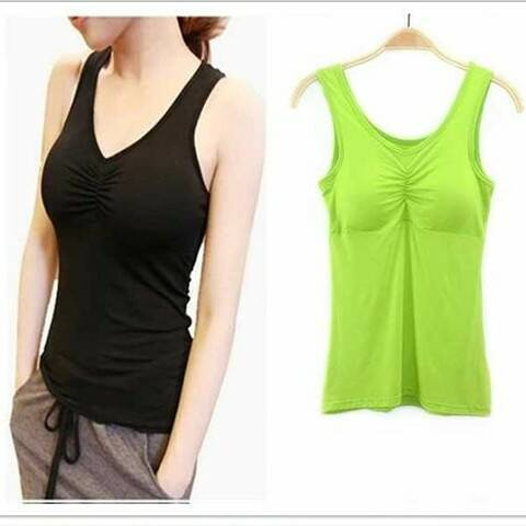 New Padded Bra   Tank     Top   Women Modal Spaghetti Solid Cami   Top   Vest Female Camisole With Built In Bra 2019 Fitness Clothing