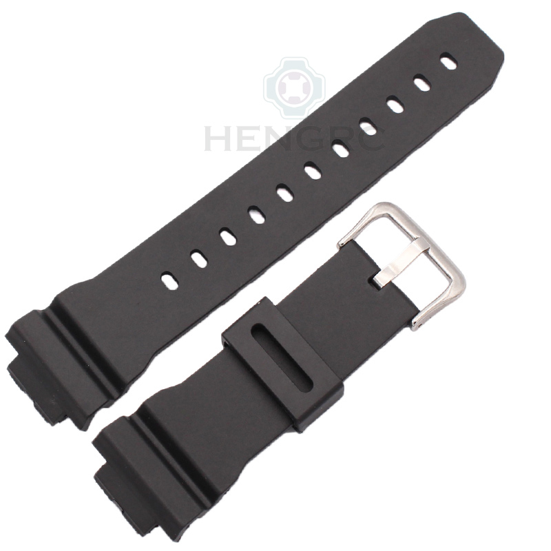 Watchbands 16mm X 25mm Men Black Sports Diving Rubber Silicone Watch Strap Band  For Casio 6900 Series Watch Accessories