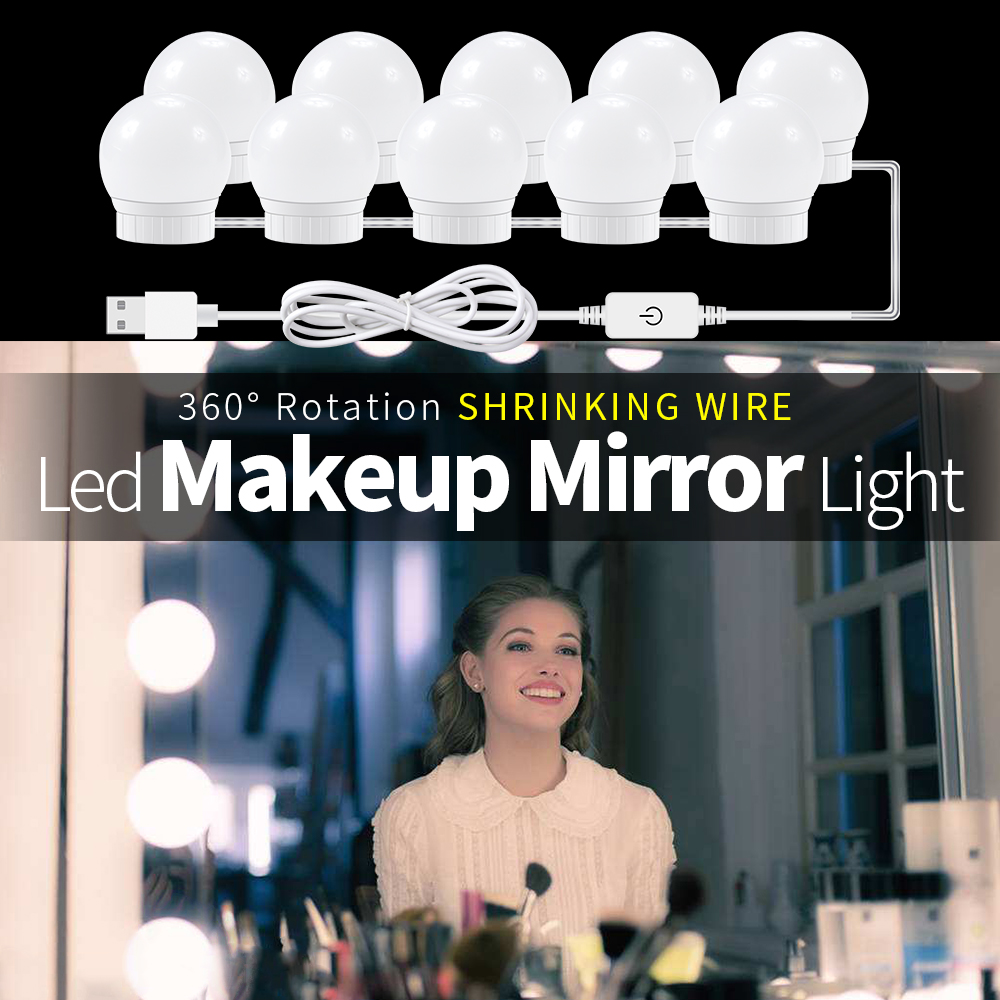 Lámpara LED USB de 12V para maquillaje, luz de pared Beauty 2 6 10 14, Kit de bombillas para tocador, lámpara de espejo de tocador de Hollywood regulable sin escalones