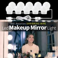 Usb led 12 v maquiagem lâmpada de parede luz beleza 2 6 10 14 lâmpadas kit para penteadeira stepless regulável hollywood vaidade espelho luz