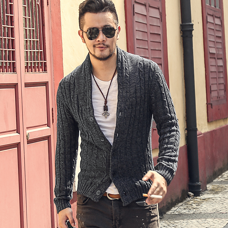 Mens Sweaters Male V Neck Winter Cardigan Men Knitwear Sweater Slim Casual Coat Brand Cardigan Masculino Fashion Autumn J281-2