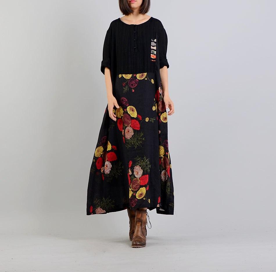Women Printed Patchwork Dress Ladies Cotton Linen Retro Print Dress Female Loose Bat Sleeve Dress 2018
