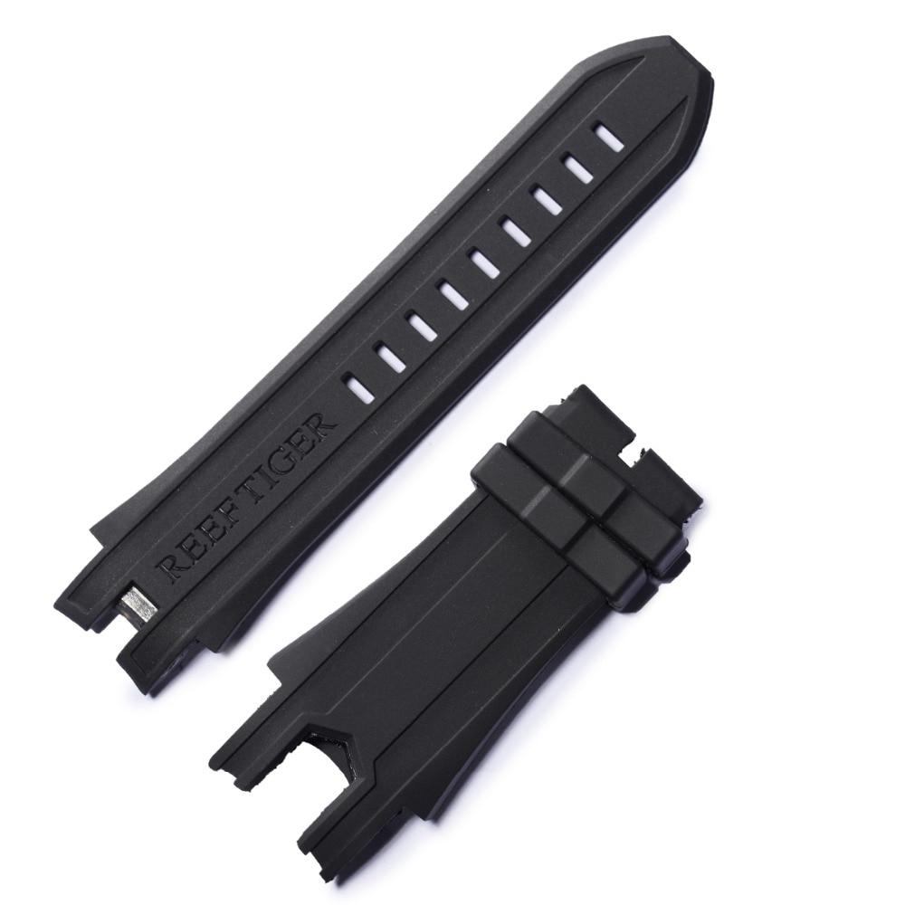 Récif tigre/RT bracelet de montre en caoutchouc souple bracelet de montre étanche largeur 25mm bracelet en caoutchouc noir pour hommes RGA3059