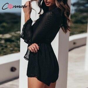 Image 4 - Conmoto שיפון קיץ מקרית קיץ Rompers נשים ארוך שרוול Baach סקסי Playsuits שקוף חלול את סרבל Rompers 2019