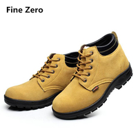 Fine Zero Mens Winter Warm Plush Anti Smash Anti Puncture Steel Toe Caps Working Safety Shoes