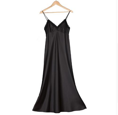 Silk Long Nightgown Spaghetti Strap Sleepdress Lace Sexy V Neck Sleepdress For Women Solid Long Nightdress Lady Sexy Lingerie