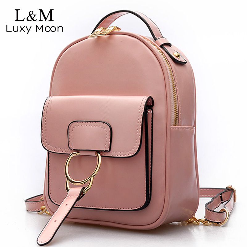 LUXY MOON Preppy Style Women Leather Mini Backpack Vintage Bags Designer Teenage Girl Shoulder Bag Ring