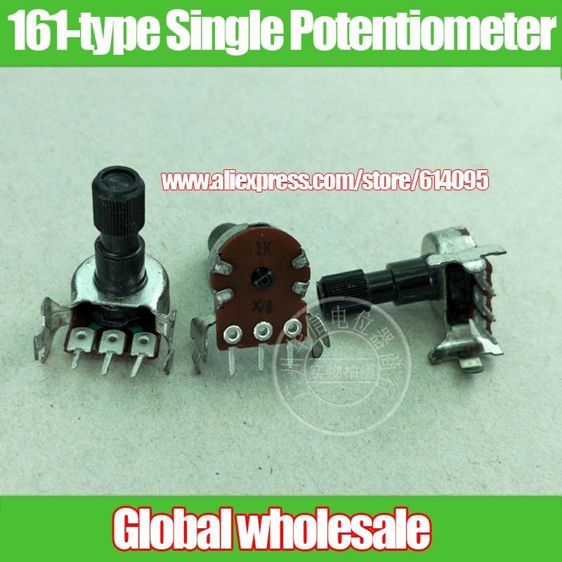 6 pcs 161-type Horizontal Único Potenciômetro A1K/Shank Comprimento 21 MM/Eixo Knurling 8 MM