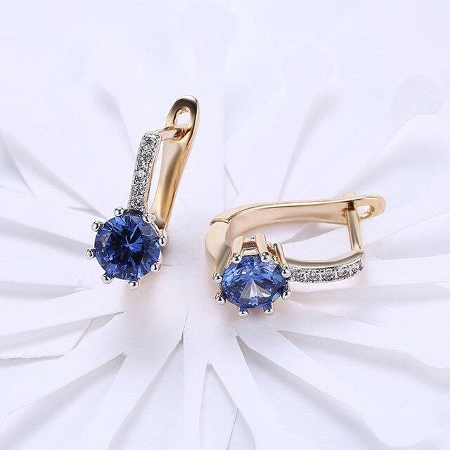 Женские серьги пусеты с пряжкой цвета розового золота голубой