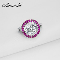 Luxury Engagement Ring 925 Sterling Silver Women Wedding Rings 3 5 Ct Round Band Rose Color