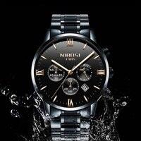 NIBOSI Роскошные модные Для мужчин s часы лучший бренд Модные Повседневные платья часы Для мужчин кварцевый хронограф наручные часы Moon Phase коль