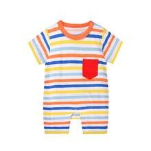 Детский хлопковый комбинезон с коротким рукавом мультяшным принтом
