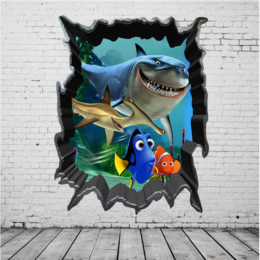 High Quality Online Shop Cartoon Finding Nemo Wall Stickers Sea Fish 3D View Decals Kids  Room Cartoon Mural Home Decor | Aliexpress Mobile Part 32