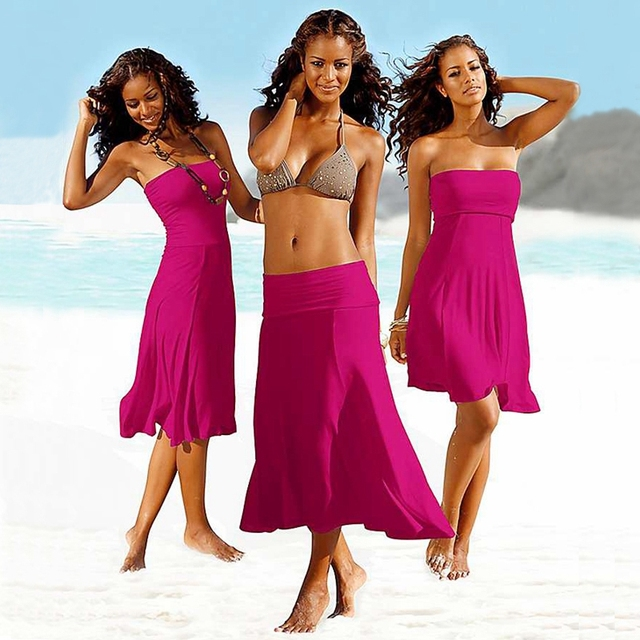 Popular Convertible Beach Dress Tube Top Cover Ups Hot Multi Wears Crotch Tunic Swimming Beach Holiday Home Street Drop Shipping