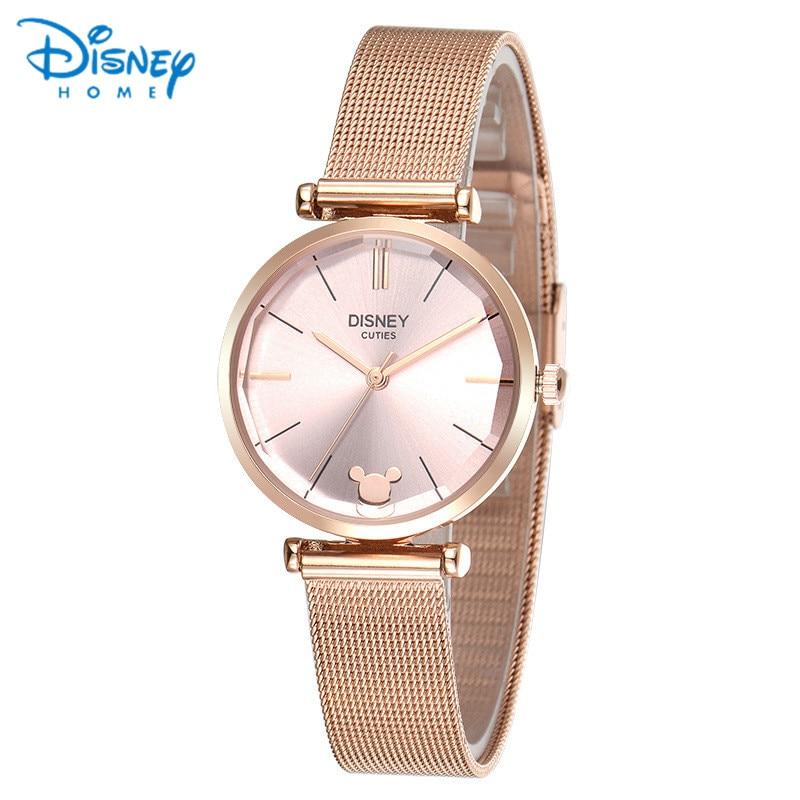 Disney Watch Female Women's 30M Waterproof Silver Rose Gold Tone Mesh Stainless Steel Japan Miyota 2035 Quartz Movt Relojes DC51