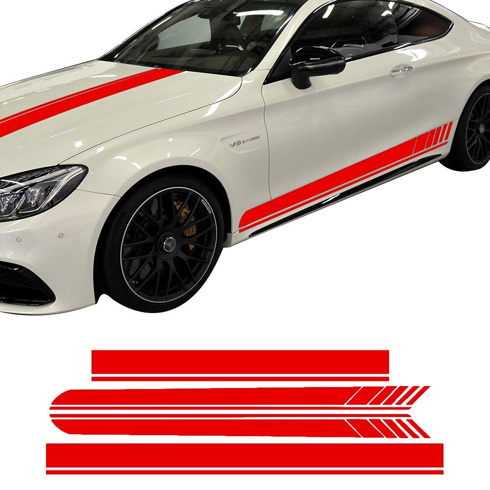 Edición 1 lado Racing Stripes Hood Roof Decal pegatinas para Mercedes Benz C63 AMG Coupe W205 C200 C250 C300 negro /amarillo