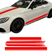 цена на Edition 1 Side Racing Stripes Hood Roof Decal Stickers for Mercedes Benz C63 AMG Coupe W205 C200 C250 C300 Black /Yellow