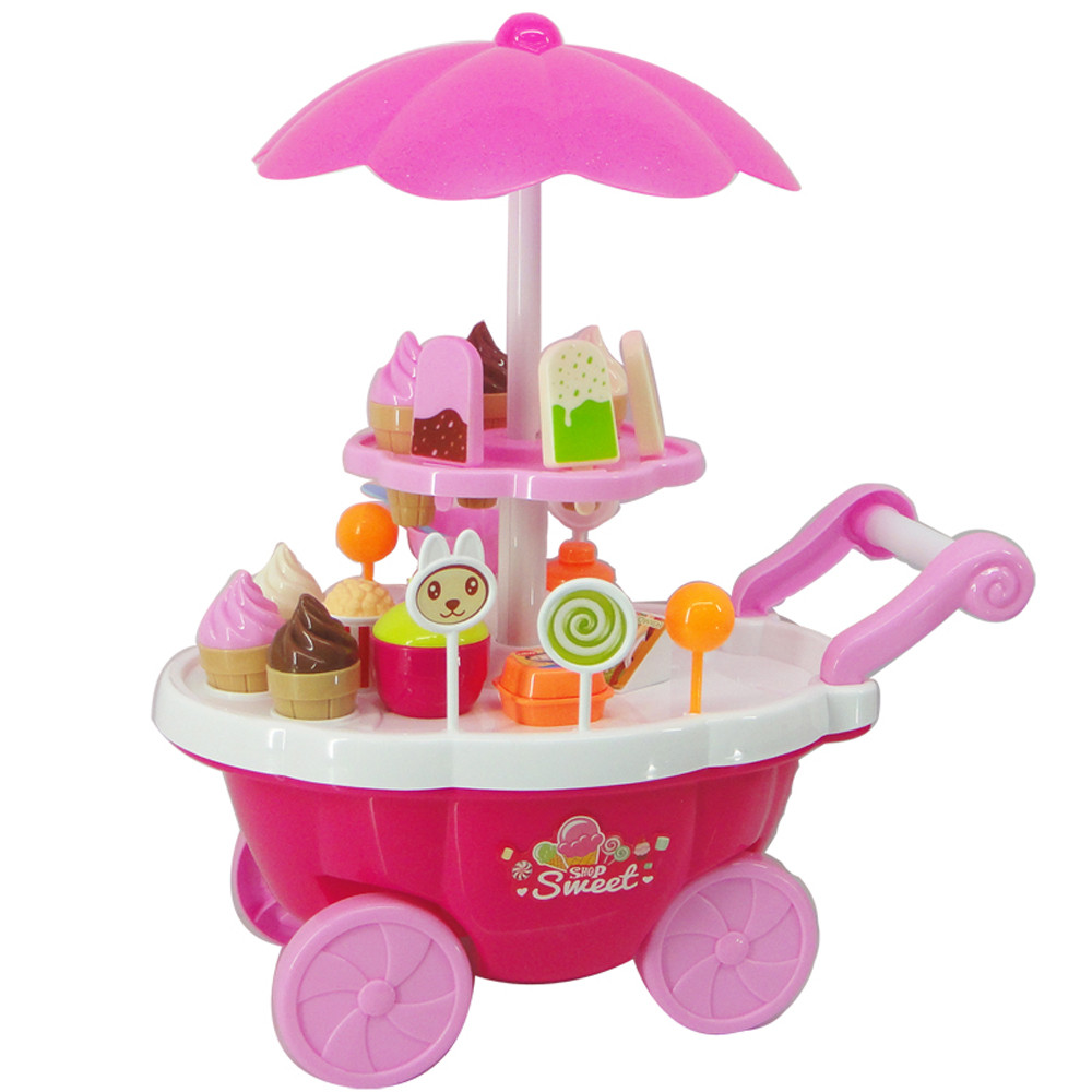 New Kids Toys Simulation Mini Candy Ice Cream Trolley Shop Pretend Play Set 39PC toys for children miniature food Vee_Mall  ice cream cart toy