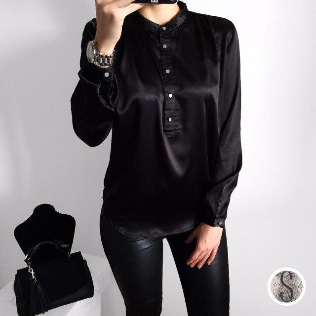 Buy women shirts stand collar long sleeve for Stand collar shirt womens