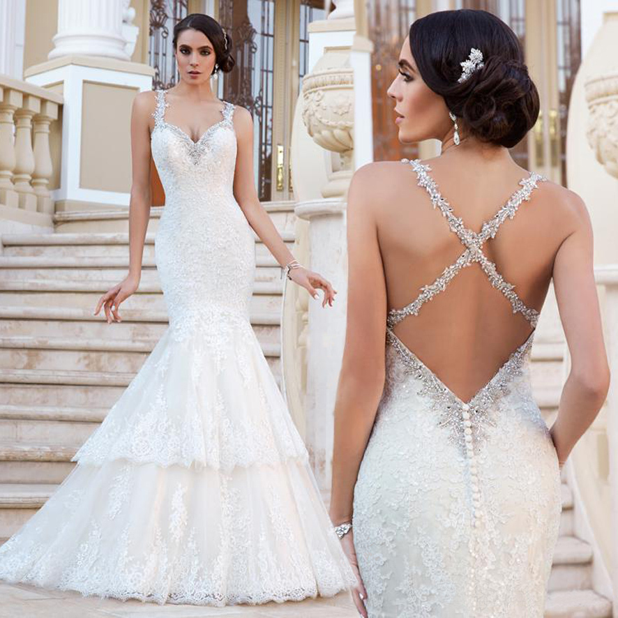 Cross Back Spaghetti Straps Trumpet Mermaid Wedding Dresses Lace ...