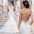 Cross Back Spaghetti Straps Trumpet Mermaid Wedding Dresses Lace Applique Beads Sequin Bridal Gowns yk1A588