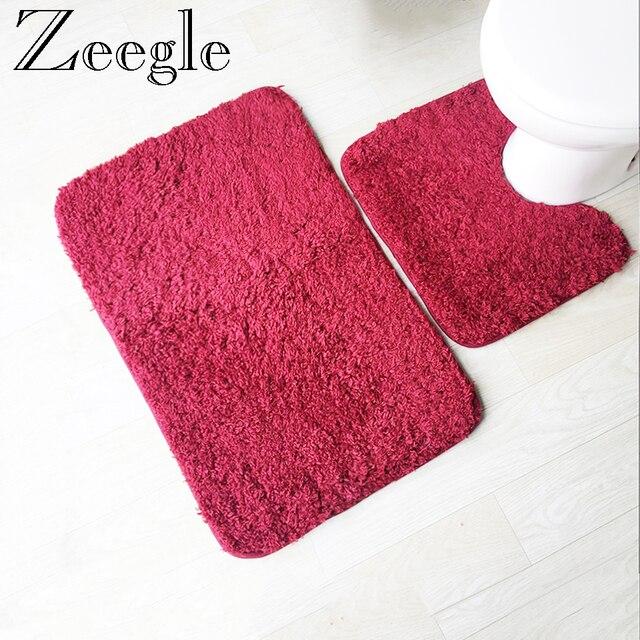 Zeegle Solido 2 pz Set Tappetini Per Servizi Igienici e Bagno Anti-slip Bagno Ta