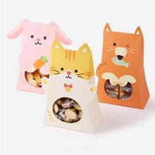 5pcs Cute Animal Candy Box Pink Cat Rabbit Cookie Bags Kids Greeting Gifts Bags For Baby Shower Birthday Party Decorations Kids pewter rabbit jewelry box silver czech crystal rabbit figurine box antique decor rabbit best birthday gifts