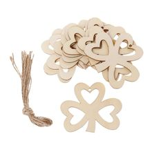 10pcs/set Hollow Three Leaf Clover DIY Wooden Hanging Plaque Sign St. Patricks Day Ornaments Decor