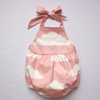 Happy Easter Gift Summer Sleeveless Girl Children Clothing White Cloud Baby Vest Dress Bow Tie Strap