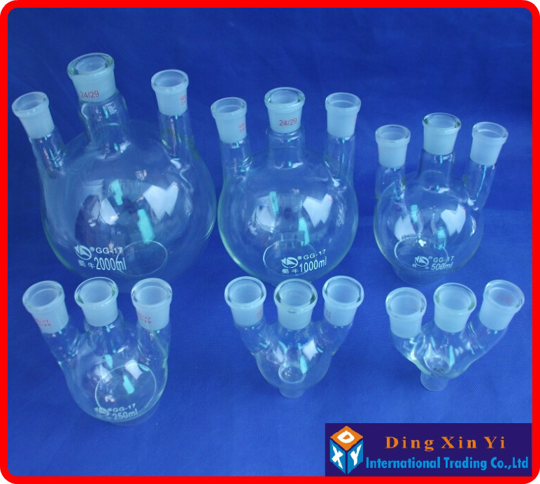 50/100/250/500/1000ml/2000ml 24/29 three-necked round-bottom flask,Flask round bottom with three necks Laboratory glass bottle