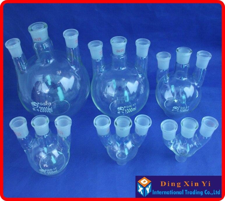 50/100/250/500/1000ml/2000ml 24/29 Three-necked Round-bottom Flask,Flask Round Bottom With Three Necks Laboratory Glass Bottle