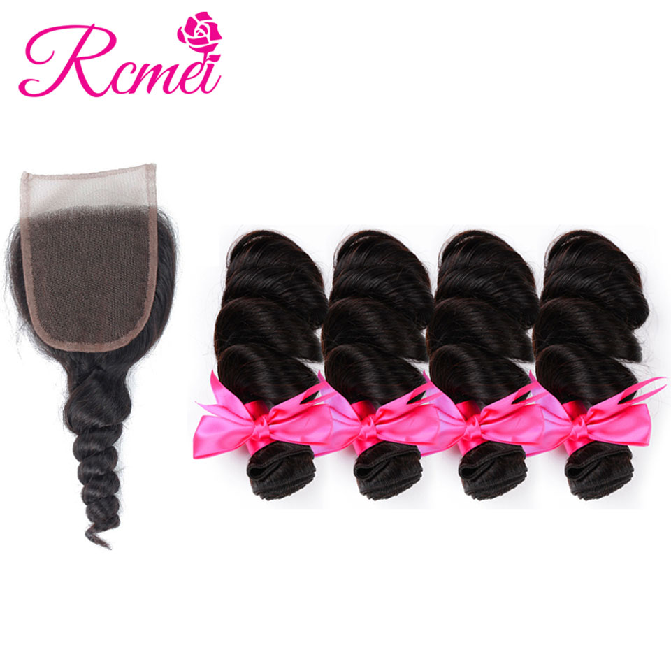 RCMEI Hair Brazilian Loose Wave 4 Bundles Human Hair With Lace Closure 4*4 Free Part Natural Color Free Shipping Non-Remy Hair