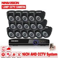 16 канальный AHD 1.0MP HD 720 P безопасности помещении камеры видеонаблюдения Системы комплект 16ch видеонаблюдения 1080 P DVR NVR системы HDMI 1080 P NVR