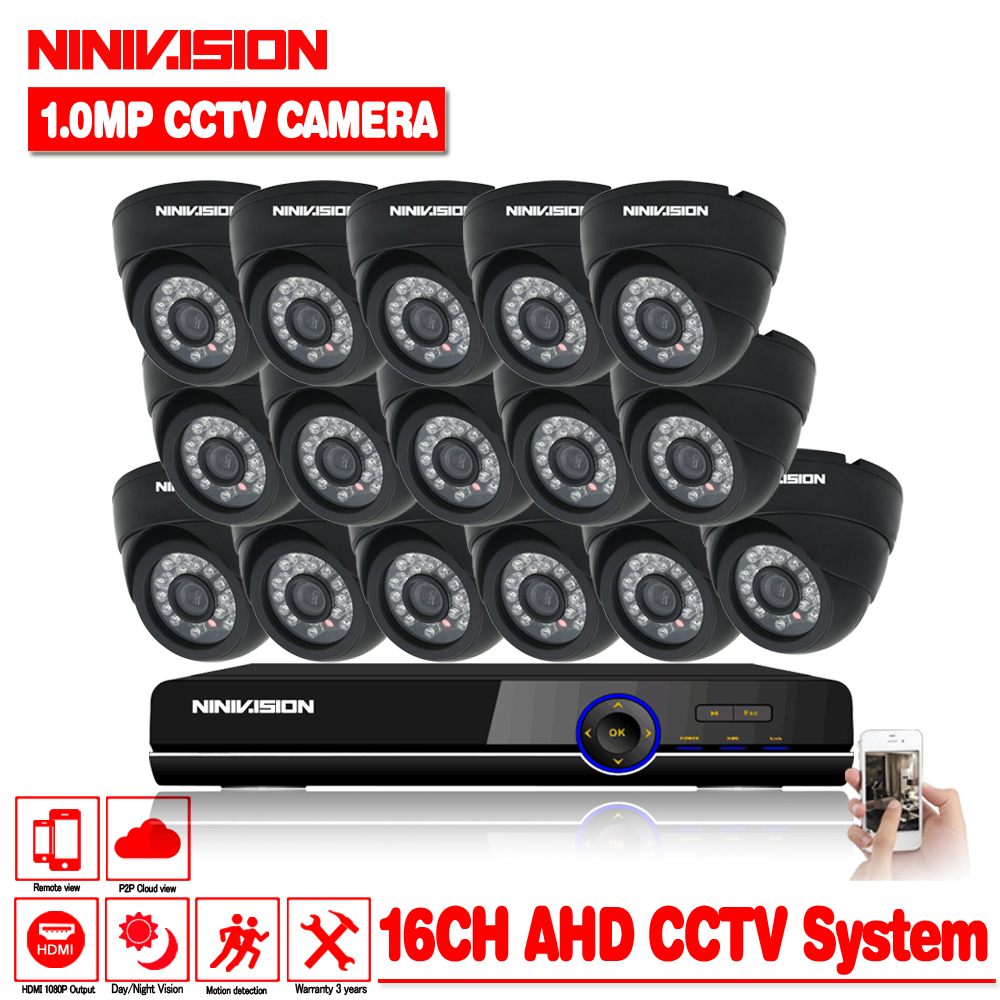 16 channel AHD 1.0MP HD 720P security indoor camera CCTV System Kit 16ch Video Surveillance 1080P DVR NVR system HDMI 1080P NVR title=
