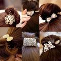 1PC Women Crystal Rhinestone Pearl Hairband Rope Elastic Ponytail Holder Bowknot Hair Braiders Accessories