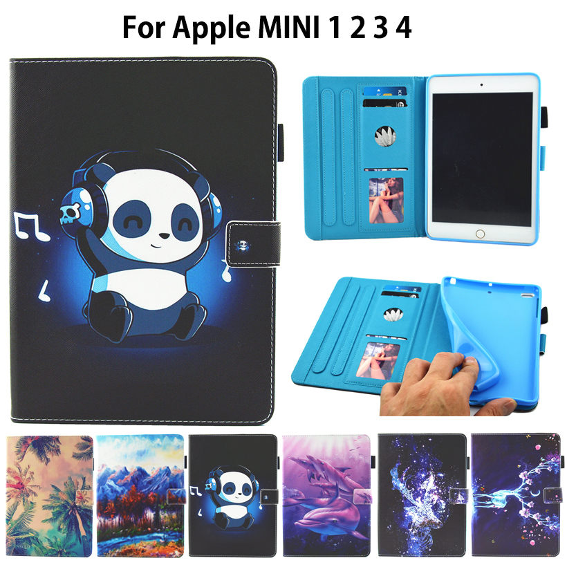 Fashion Print Case For Apple iPad Mini 1 2 3 4 Smart Case Cover Funda Tablet Cute Cartoon Silicone PU Leather Stand Shell nice clear flexible tpu silicone bottom back case for apple ipad mini 1 2 3 case smart cover partner thin transperent