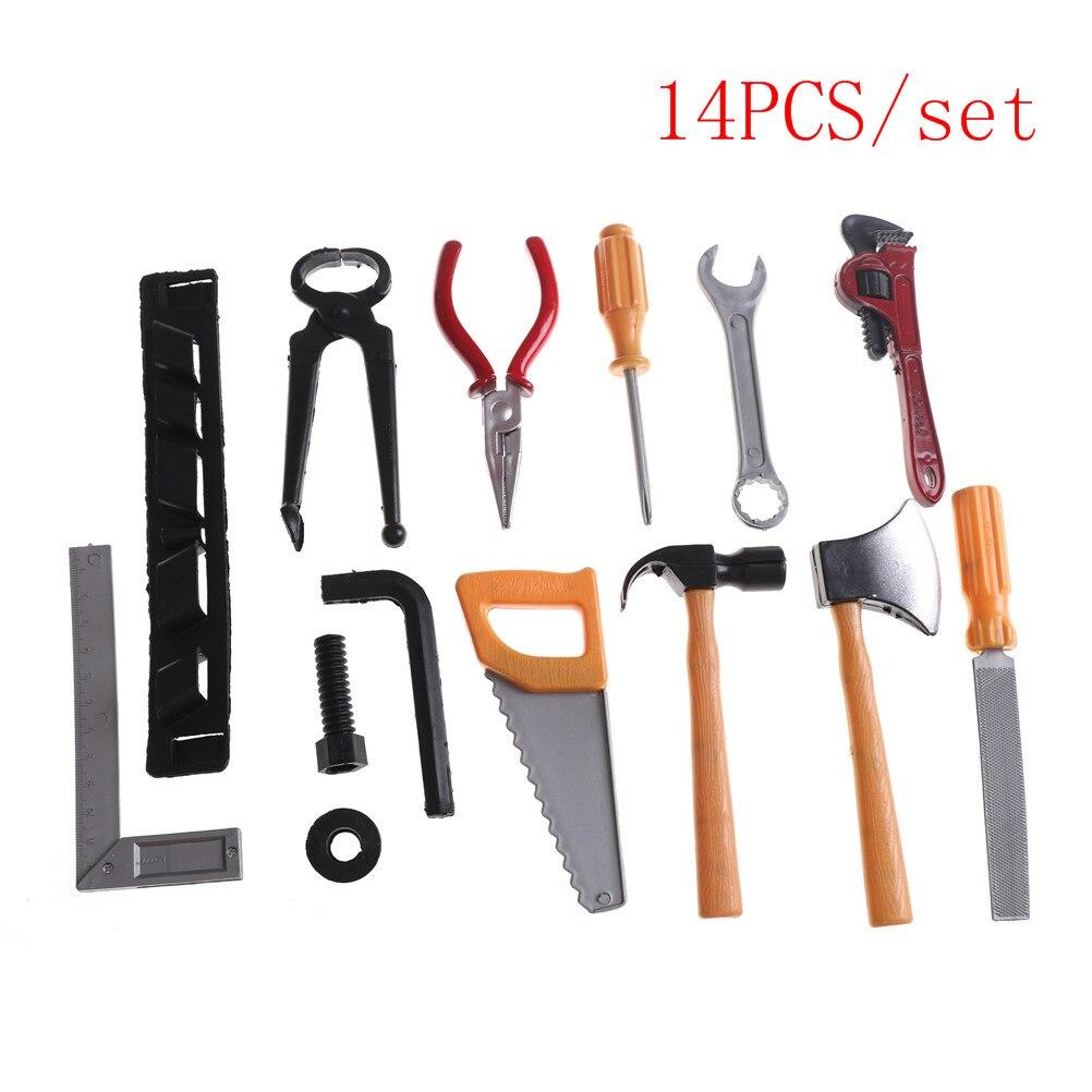 14 Stks/set Diy Classic Boy Building Reparatie Tool Speelgoed Plastic Bouw Educatief Speelgoed Tool Kits Set Keuze Materialen