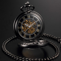 Men Women Steampunk Skeleton Mechanical Black Gold Open Face Retro Pendant Pocket Watch
