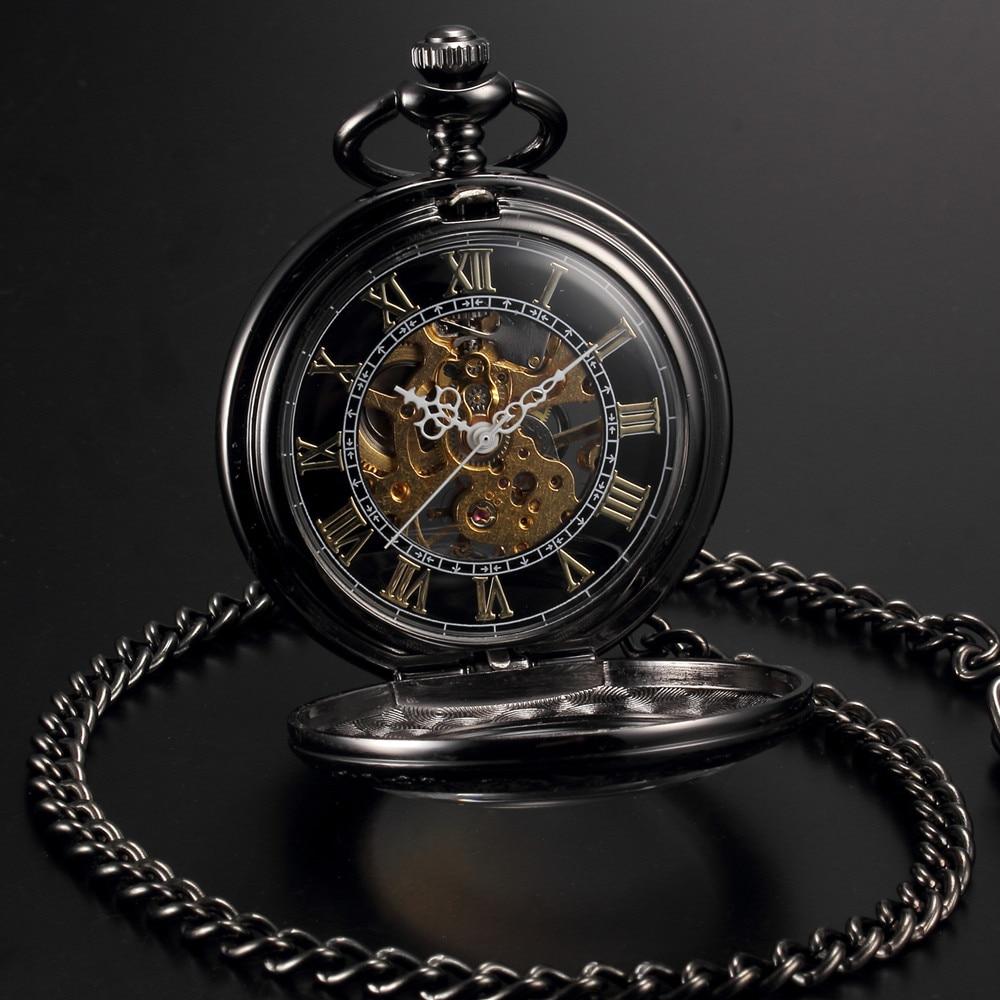 online buy whole antique mens gold pocket watch from men women steampunk skeleton mechanical black gold open face retro pendant pocket watch