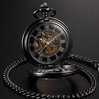 Men Women Steampunk Skeleton Mechanical Black Gold Open Face Retro Pendant Pocket Watch