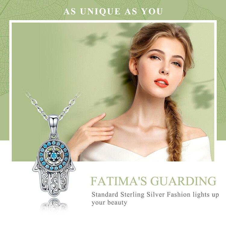 HTB1VBTRgrorBKNjSZFjq6A SpXaM BAMOER Genuine 925 Sterling Silver Trendy Fatima's Guarding Hand Pendant Necklaces Women Fine Silver Jewelry Gift SCN264