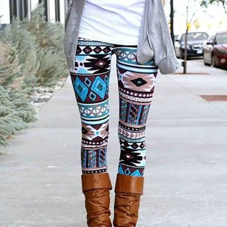 2018 Hot Polyester fitness Women Casual Skinny Geometric Print Stretchy Jegging Slim Leggings warm costumes for winter #0608