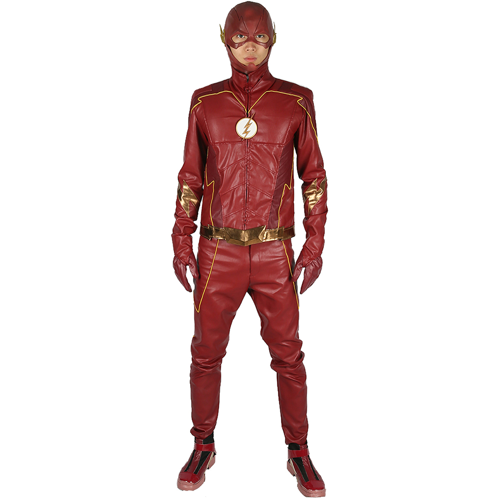 Sale New Updated The Flash 4 Cosplay Costume DC Universe Superhero Red PU Leather Suit Halloween Cosplay Costume for Men