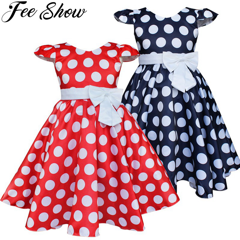 Summer Girls Dress Elegant Vintage Cotton Retro Princess Dress Party Costume Kids Clothes Red Dot Girl Dress Children Clothing summer girls dress elegant vintage cotton retro princess dress party costume kids clothes red dot girl dress children clothing